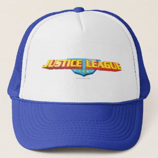 Justice League Thin Name and Shield Logo Trucker Hat