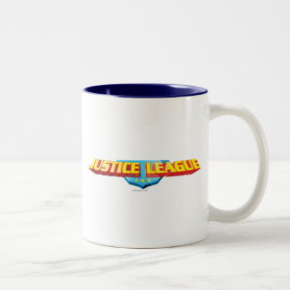 Justice League Thin Name and Shield Logo Two-Tone Coffee Mug