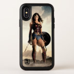 "Justice League | Wonder Woman On Battlefield OtterBox Symmetry iPhone X Case<br><div class=""desc"">Check out Justice League&#39;s Wonder Woman standing with sword and shield in either hand on a mist filled,  rocky terrain. The sun rises behind her,  causing the mist and clouds to glow bright.</div>"