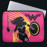 "Justice League | Wonder Woman Silhouette Icon Computer Sleeve<br><div class=""desc"">Check out Justice League&#39;s Wonder Woman in silhouette form,  with her armor and weapons highlighted in contrasting colors. The Wonder Woman logo is featured in the upper right,  and golden curves swirl around Wonder Woman in the direction she is leaping.</div>"