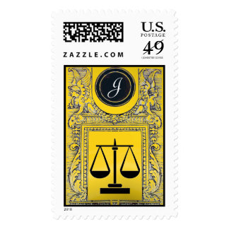 JUSTICE LEGAL OFFICE,ATTORNEY Monogram Gold Yellow Postage