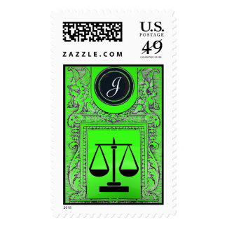 JUSTICE LEGAL OFFICE,ATTORNEY Monogram Green Postage