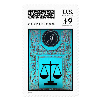 JUSTICE LEGAL OFFICE, ATTORNEY Monogram Teal Blue Postage