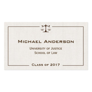 Justice of Scale Law Logo Elegant Linen Look Business Card