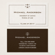 Justice Of Scale Law Logo Elegant Linen Look Business Card at Zazzle