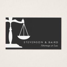 Justice Scale Attorney Black And White Business Card at Zazzle