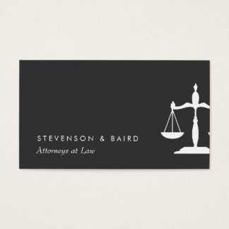 Justice Scale  Attorney Black and White Business Card