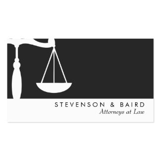 Justice Scale  Attorney Black and White Business Card Templates