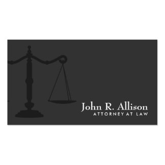 Justice Scale Attorney Simple Black Business Card
