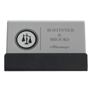 Justice Scale Two Attorneys Custom Black Gray Desk Business Card Holder