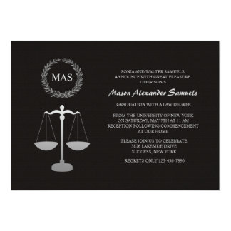 Justice Scale & Wreath Law School Graduation Inv 5x7 Paper Invitation Card