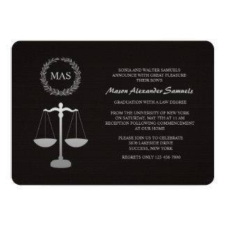 """Justice Scale & Wreath Law School Graduation Inv 5"""" X 7"""" Invitation Card"""