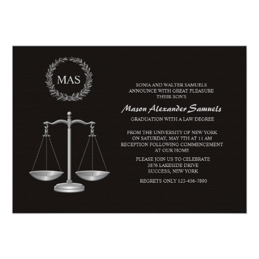 Justice Scale & Wreath Law School Graduation Inv Invitations