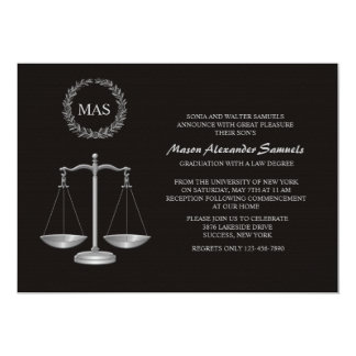 Justice Scale & Wreath Law School Graduation Inv 5x7 Paper Invitation Card