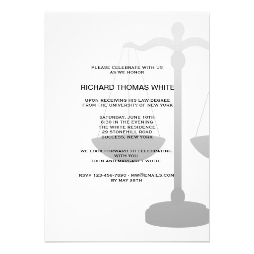 Justice Scale You Pick Background Color Invitation