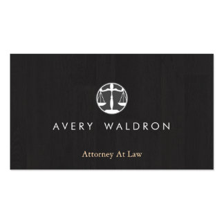 Justice Scales Attorney At Law Modern Black Wood Double-Sided Standard Business Cards (Pack Of 100)