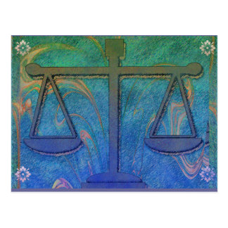 Justice Scales Blue Postcard