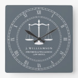 Justice Scales Custom Name Lawyer Slate Grey Square Wall Clock