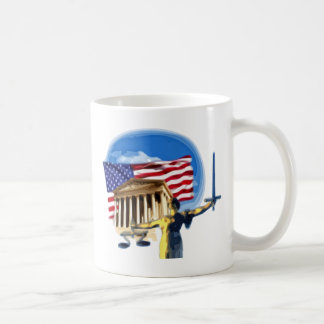 Justice Statue in front of American Flag Coffee Mug