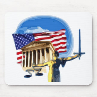Justice Statue in front of American Flag Mouse Pad