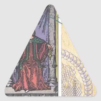 Justice Tarot Card Postcard Fortune Teller Triangle Sticker