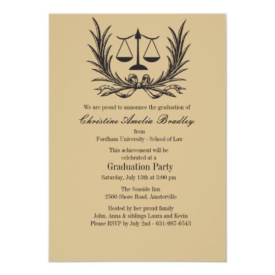 Justice Wreath Law School Graduation Invitation Zazzlecom