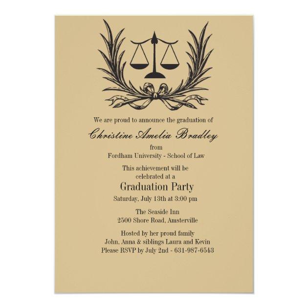 Justice Wreath Law School Graduation Invitation (front side)