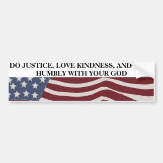 Justicia, amabilidad, y humildad pegatina para auto