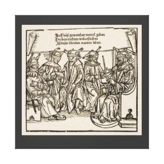 Justicia ciega, la corte de tontos, lienzo envuelto para galerías