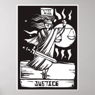 Justicia de la carta de tarot póster