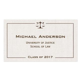 Justicia de la mirada de lino elegante del tarjetas de visita