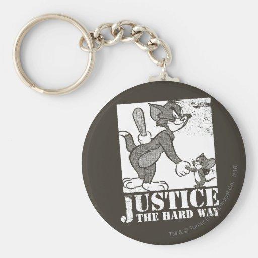Justicia de Tom y Jerry la manera dura Llavero Redondo Tipo Pin