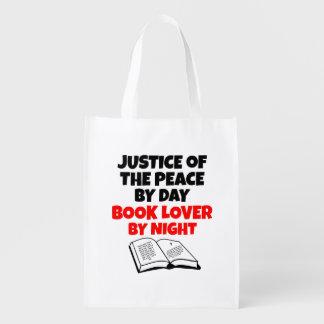 Justicia del aficionado a los libros de la paz bolsa reutilizable
