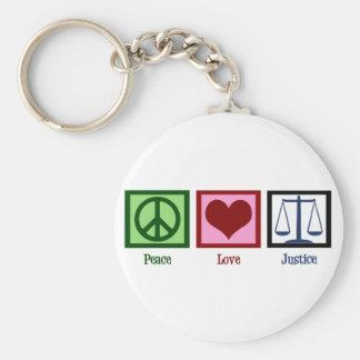 Justicia del amor de la paz llaveros