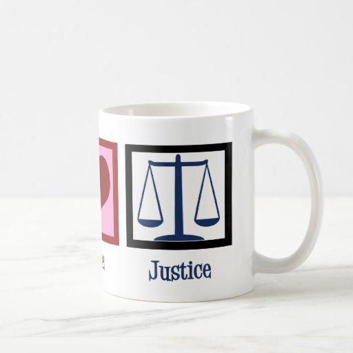 Justicia del amor de la paz tazas