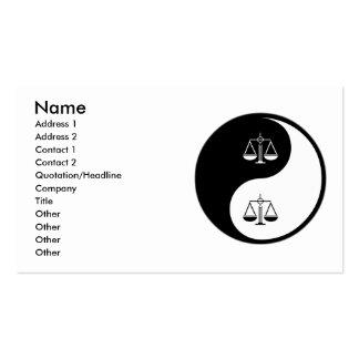 Justicia penal de Yin Yang Plantillas De Tarjetas Personales