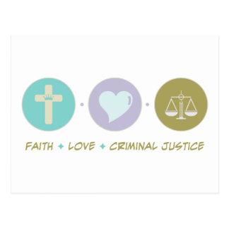 Justicia penal del amor de la fe postales
