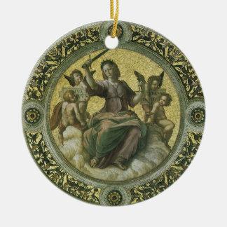 Justicia por Raphael, arte renacentista del Adorno Redondo De Cerámica