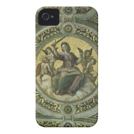 Justicia por Raphael, arte renacentista del iPhone 4 Case-Mate Fundas