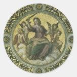 Justicia por Raphael, arte renacentista del Pegatina Redonda