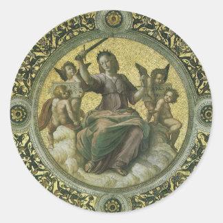 Justicia por Raphael arte renacentista del vintag Etiquetas Redondas