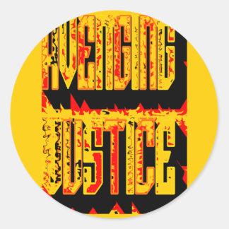 Justicia que se venga etiqueta redonda