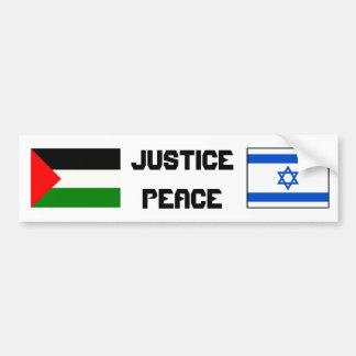 Justicia y paz en Israel-Palestine. Pegatina Para Auto