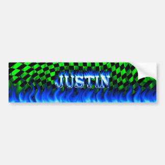 Justin blue fire and flames bumper sticker design