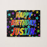 "[ Thumbnail: ""Justin"" First Name, Fun ""Happy Birthday"" Jigsaw Puzzle ]"