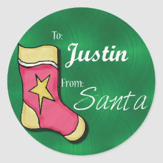 Justin Personalized Christmas Label81 Classic Round Sticker