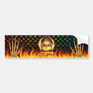 Justin skull real fire and flames bumper sticker d