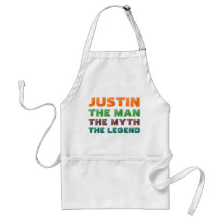 Justin the man the myth, the legend adult apron
