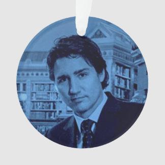 Justin Trudeau portrait in blue Ornament