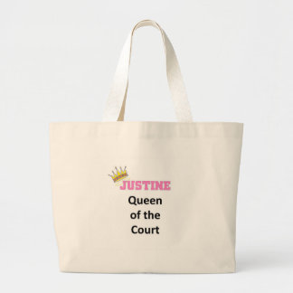 Justine queen of the court tote bags